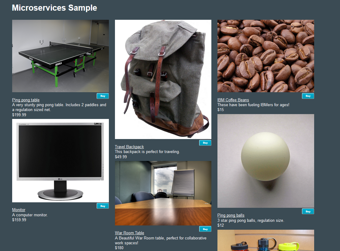 Online Store Application using Microservices and Bluemix